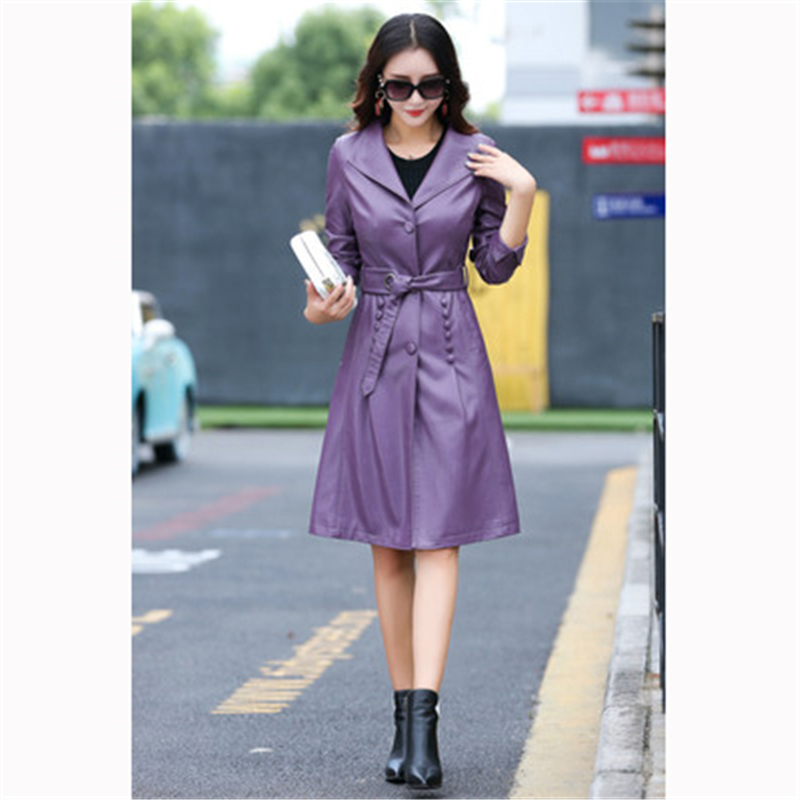 Femmes Veste Hiver Cuir Manteau purple En Coupe Grande Pu J835 Mince Taille breasted Single De gray Black vent 5HxRR1wp