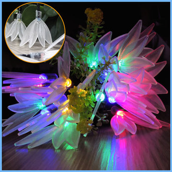 Dcoo New  20 LED Leaf String Lights Solar String Fairy Lights Waterproof Outdoor Solar String Lights Decorated Garden Christmas