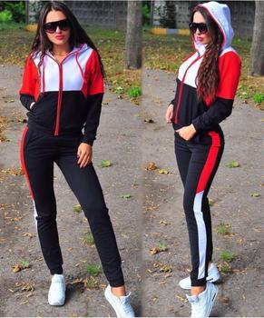 Kobiety Plus rozmiar dres dwuczęściowy zestaw dorywczo ubranie sportowe 2020 zamek kobiet biegaczy salon nosić mody tanie i dobre opinie LISM REGULAR Długość podłogi Z kapturem Elastyczny pas COTTON Poliester WOMEN zipper Sexy Club Pełna NONE DH007 Pełnej długości