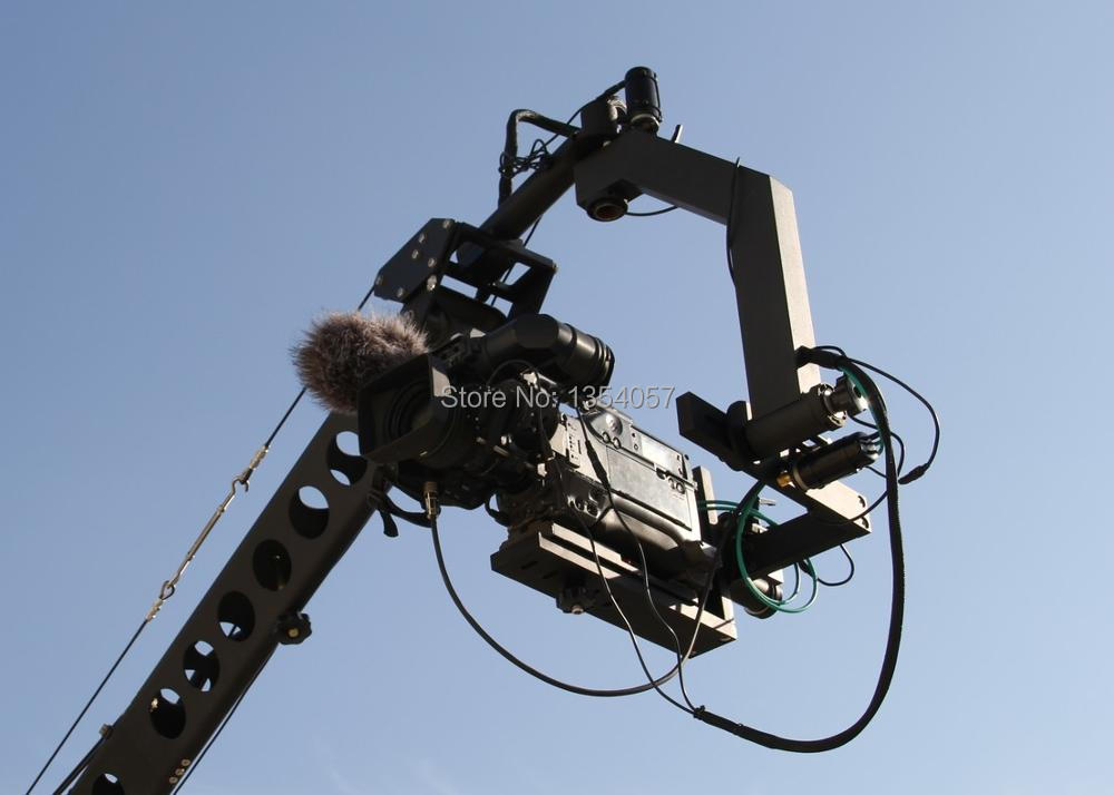 6m 3 axis jimmy jib crane for with motorized dutch head loading 16kg professional dv camera crane jib 3m 6m 19 ft square for video camera filming with 2 axis motorized head