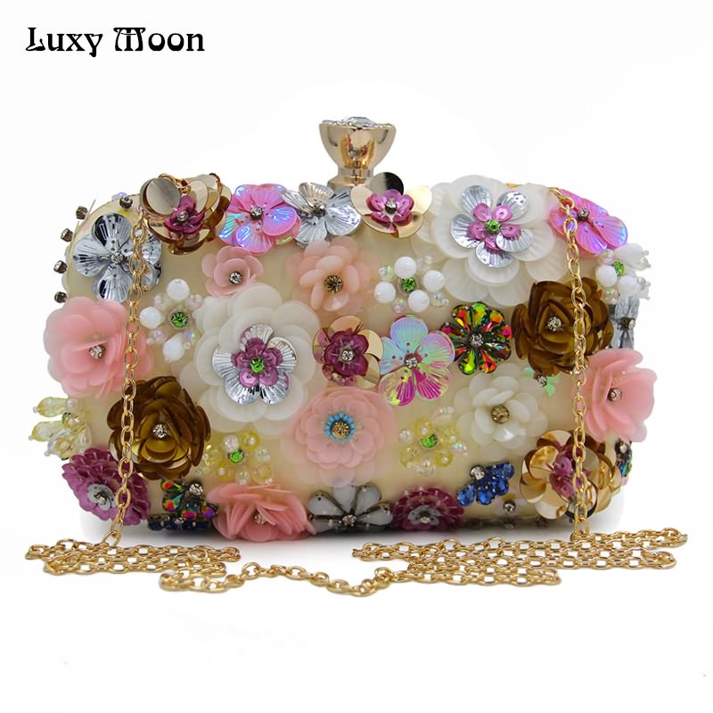 Luxy Moon Handmade Evening Clutch Embroidery Women Evening Bags Crystal Purses Female Flower Party Clutches Chain Handbag ZD674 цена