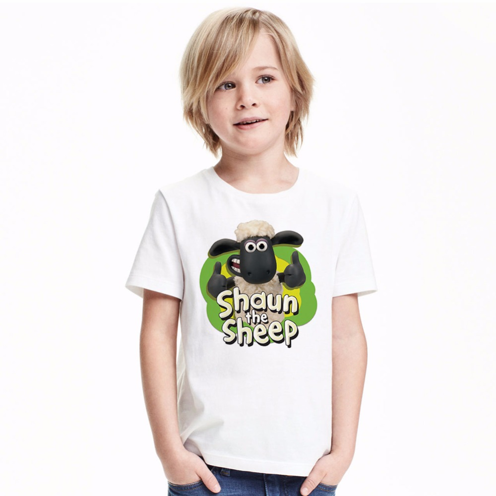 Baby Cartoon Clothes Boy Girl Shaun the Sheep Pattern T Shirt Children Cotton Tee Tops 2017 Kids Sheep T-shirt Summer 1-6 Years недорго, оригинальная цена
