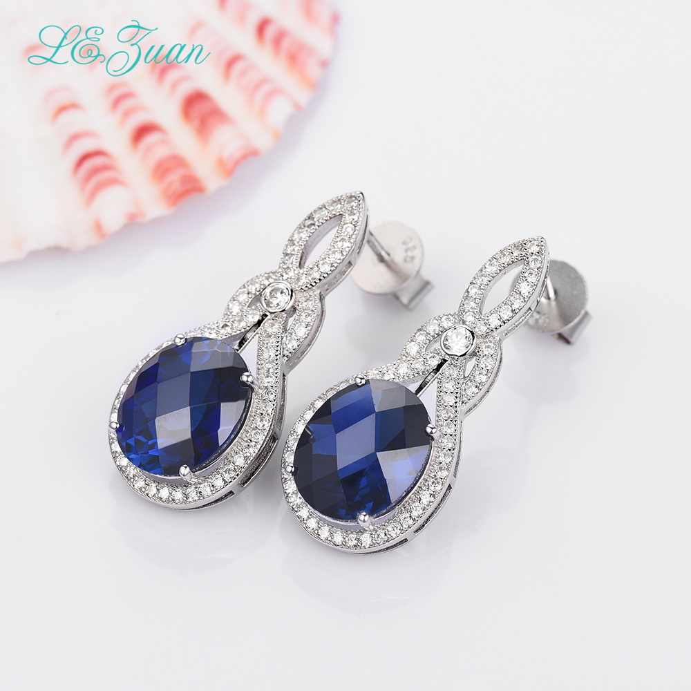 I&zuan 100% 925 Sterling Silver Jewelry Drop Earrings 13.01ct Blue Stone Checkerboard Cut Luxury Earrings For Women stylish silver plated cut out rhinestone heart earrings for women