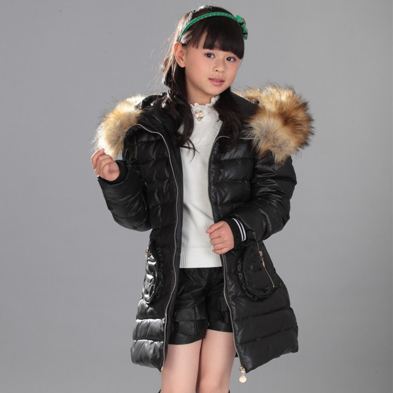 1e9660332 Warm Thick Fur Hooded Girl Teenage Slim Coat Long Winter Kids White ...