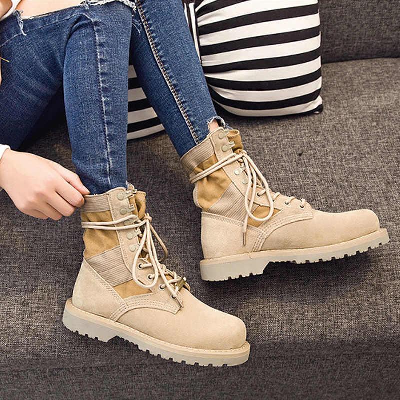 SONDR khởi động mắt cá chân bottines femme 2018 nouveau nền tảng cao su giày phụ nữ ren lên Kaki zapatos de mujer May bông sapatos