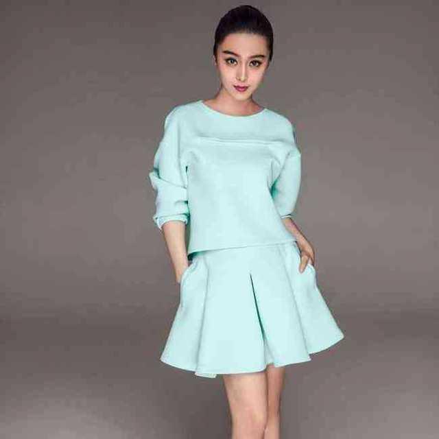Mulheres primavera Set espaço de algodão queda blusa saia plissada 2 peça Set Top saia S3