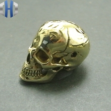 New Pure Copper Personality Skull Three Hole Pendant Brass Pattern Cross Bead EDC Accessories DIY Paracord Beads