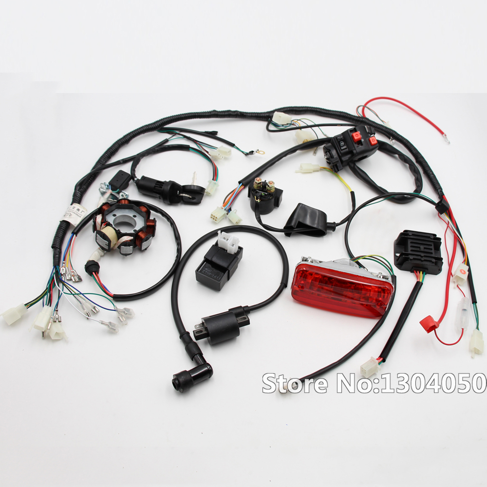 medium resolution of complete electrics 4 stroke atv quad 150 200 250 300cc wiring harness cdi 8 coil stator
