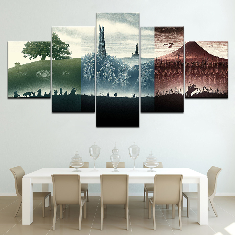 The Lord of the Rings: The Fellowship of the Ring 5 pcs Modular Canvas print painting picture home decor poster wall Artwork image