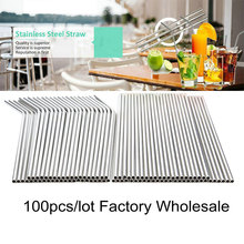 100pcs/lot Metal Straw Reusable Wholesale Stainless Steel Drinking Tubes 215mm*6mm Straight Bent Straws For Drink