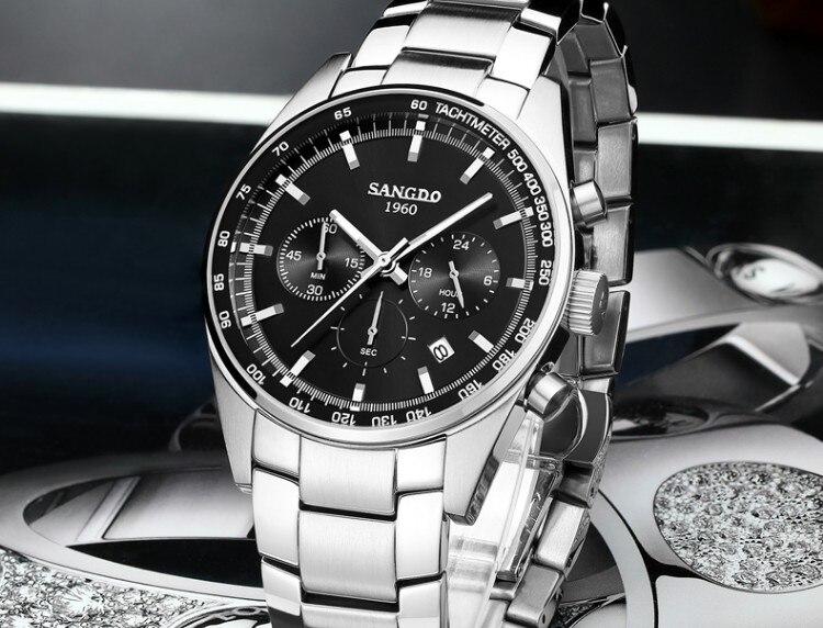 42 мм SANGDO многофункциональный хронограф японский кварцевый механизм черный циферблат Мужские часы Высокое качество Новая мода кварцевые ча... - 3