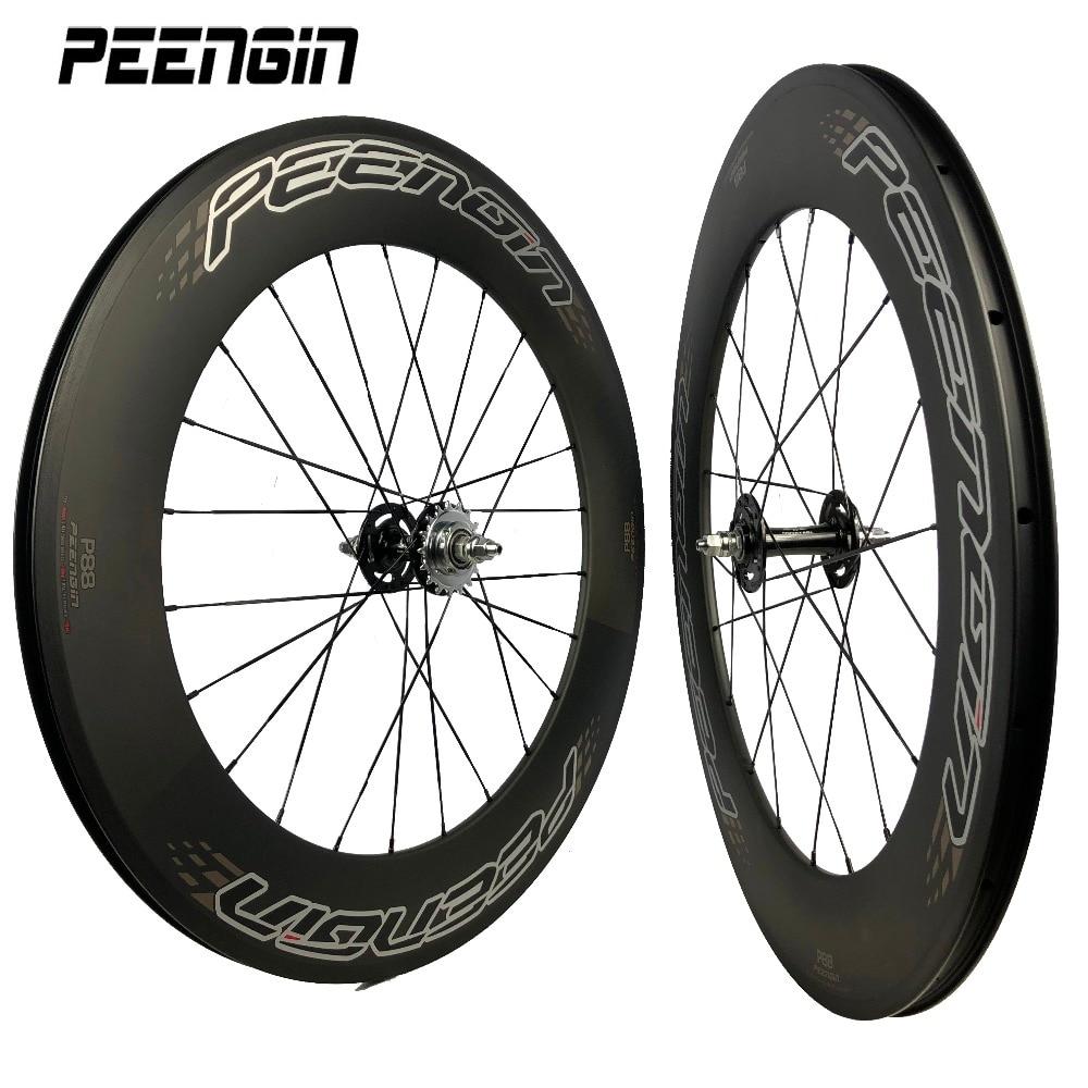 Fixed gear track bike carbon wheelset spoke rim fixie 23X88mm depth 3K/UD Novatec hub wheel bearings J hooks Aero/Pillar spokes