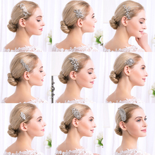 Exquisite Wedding Bridal Rhinestone Hair Combs Hand-Made Women Headwear Alloy Tiara Accessories Elegant Jewelry