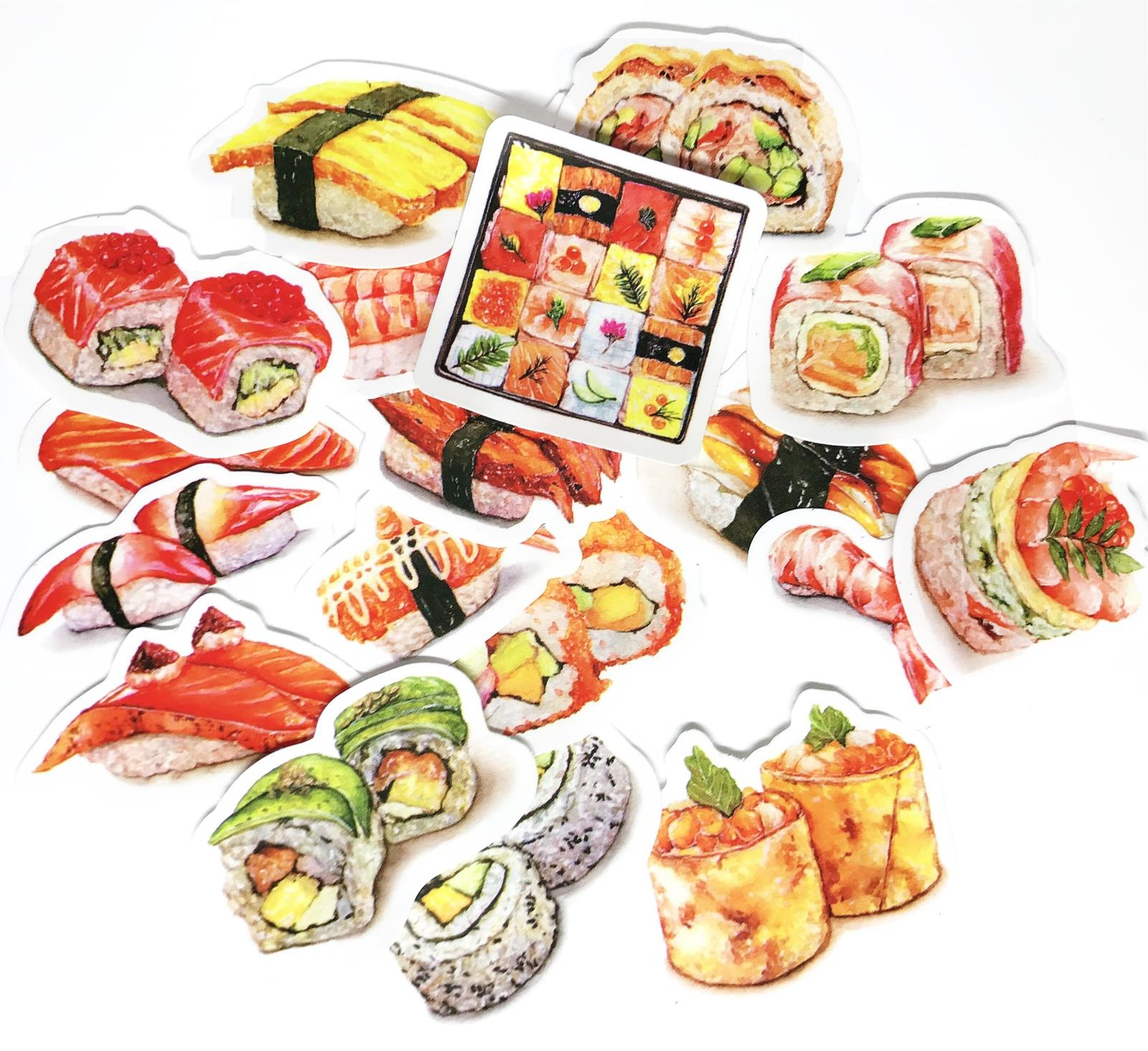 17pcs/pack Japanese Style Lovely Food Delicious Kawaii Sushi Decorative Sticker DIY Scrapbooking Diary Album Sticker Escolar