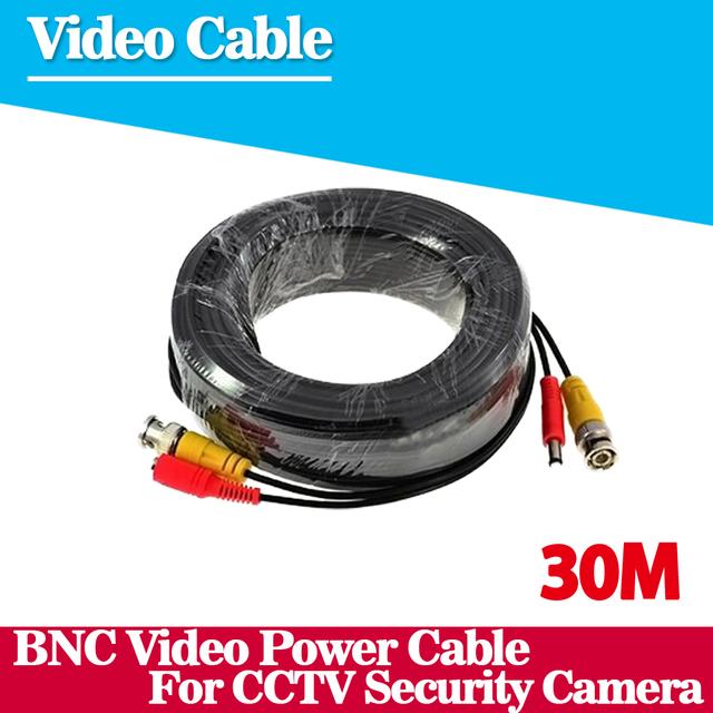100ft cctv cable 30 m bnc power video cable de salida de vídeo bnc coaxial cable para cctv cámara de seguridad