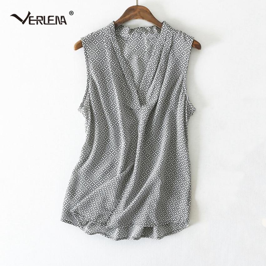 Verlena OL 100% Silk Gray Blouse Geometric Pattern V Neck Japan Style Sleeveless Tank Shirt Women Blouses 2019 Women Summer Tops-in Blouses & Shirts from Women's Clothing on AliExpress - 11.11_Double 11_Singles' Day 1