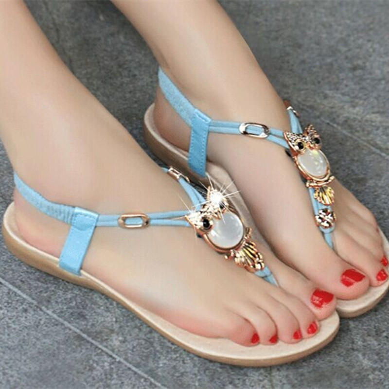 2016 fashion Owl decorative Gladiator Flock square heels comfortable Western style sandals beach shoes(4 to 9) black/beige/pink