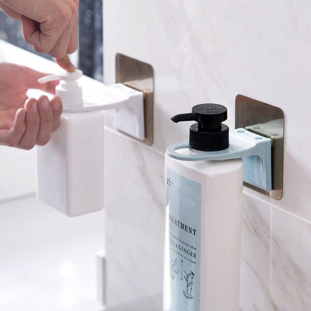 2pcs Wall Mounted Shampoo Organizer Sticky Hook Shower Gel Bottle Holder Bathroom Shelf Hanger