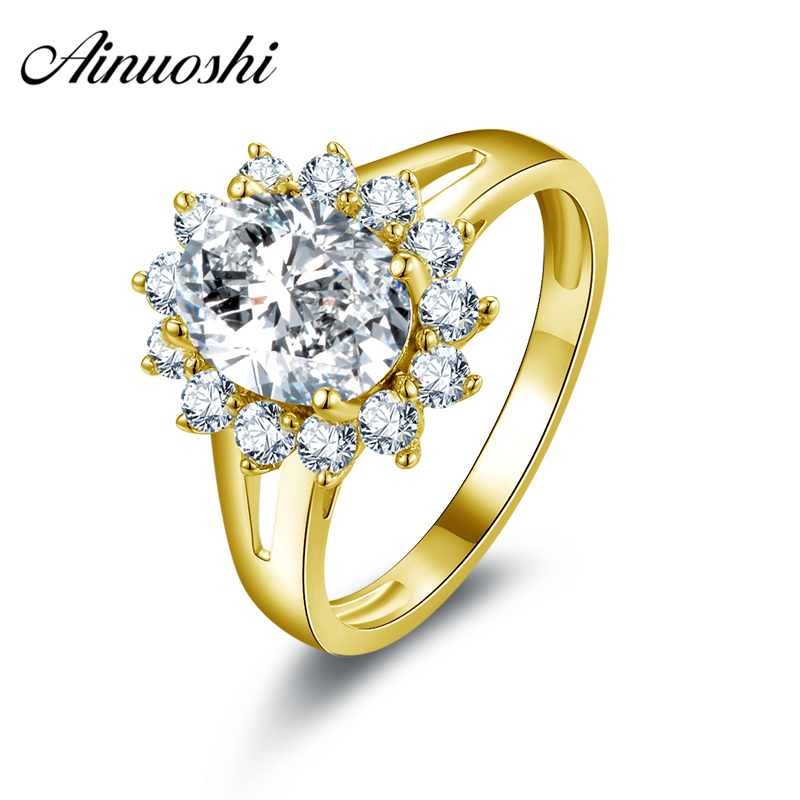 AINUOSHI 10k Solid Yellow Gold Women Wedding Rings Luxury 2 ct Oval Cut CZ Design Halo Aneis Feminino Wedding Rings for Bridal цена