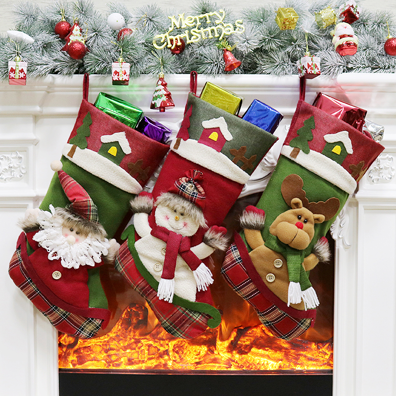 Christmas Stocking Plaid Santa Claus Sock Gift Bag Kids Xmas Noel ...