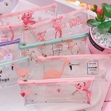 Cute Pink Leopard Unicorn Transparent Travel Cosmetic Bag Make Up Case Makeup File Women Organizer Toiletry Storage Kit Box