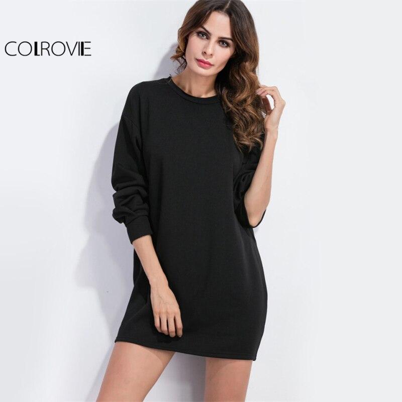 Colrovie заниженной линией плеч Черный Повседневные платья Для женщин с длинным рукавом  ...