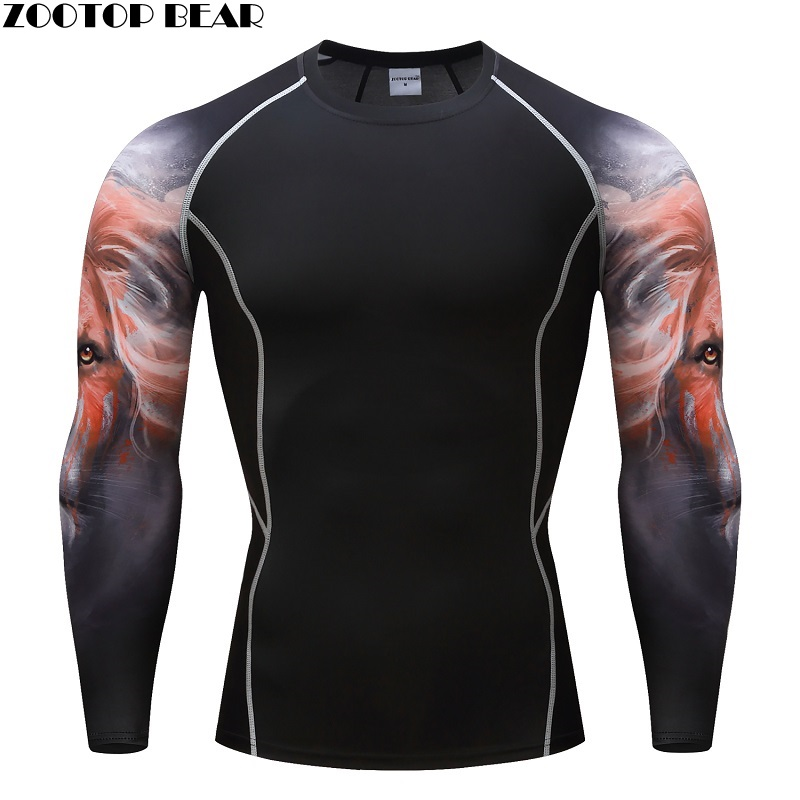 Lion de compresie T Tricouri MMA Crossfit Exerciții de antrenament de fitness Bărbați respirabil Topuri Culturism Tees Brand T-shirts ZOOTOP BEAR