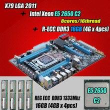 for Intel Xeon X79 motherboard CPU RAM combos LGA 2011 E5 2650 C2 SR0KQ (8 cores/16 threads) memory (4*4G)16G DDR3 REG ECC