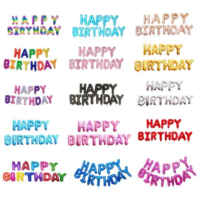16 cali listów HAPPY BIRTHDAY folia balony szczęśliwy urodziny party dekoracje dzieci alfabet balony powietrza Baby Shower dostaw tanie i dobre opinie p2581 13pcs Poroża list KAŻDA ZE STRON Piłkę Przyjęcie urodzinowe Impreza Folia aluminiowa