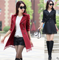 2016 Autumn Women Blazers And Jackets red black Jacket Long Sleeve Slim Suit double-breasted  Women Jacket Plus Size lace Blazer