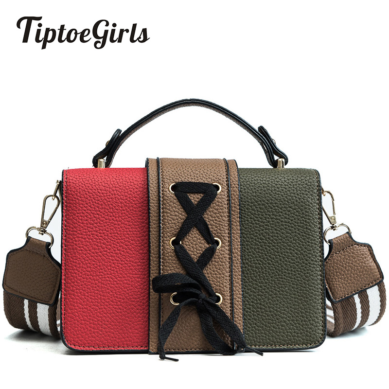 Small Square Bag Female New Wild Korean Knit Hit Color Handbag Retro Wide Shoulder Strap Shoulder Messenger Bag 2018 new female korean version of the bag with a small square package side buckle shoulder messenger bag packet tide