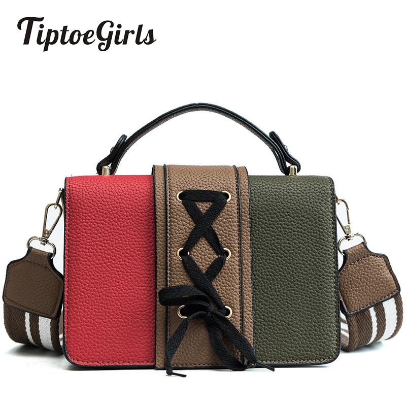 Small Square Bag Female New Wild Korean Knit Hit Color Handbag Retro Wide Shoulder Strap Shoulder Messenger Bag