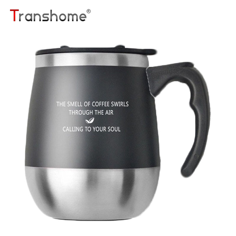 Transhome Big Belly Thermos bögre kávéscsésze fedél rozsdamentes acél termosz pohár Utazás Kávé bögrék Vákuum termosz kefével