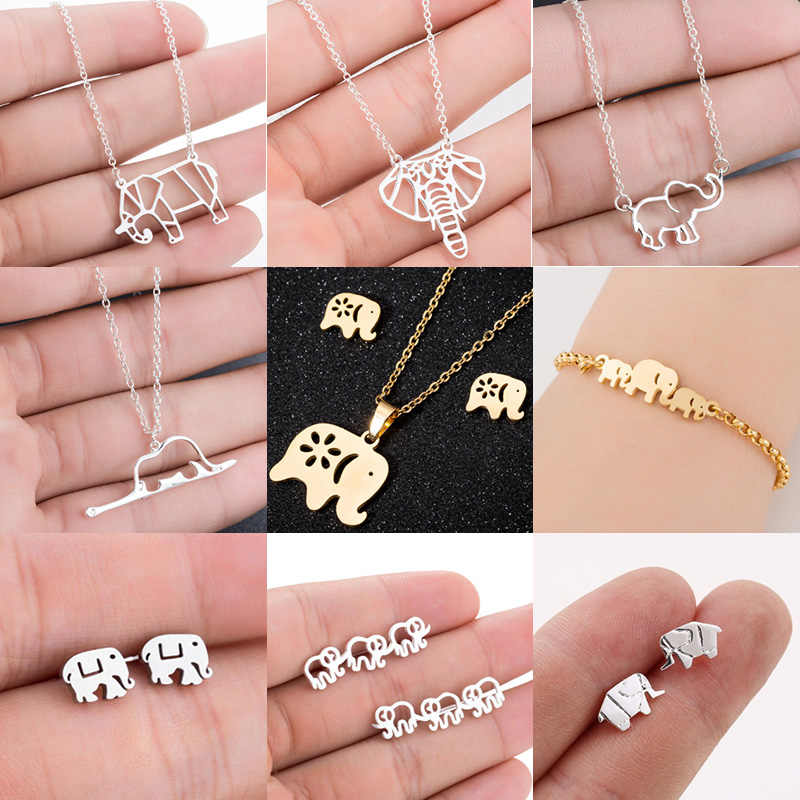 Jisensp Cute Elephant Pendant Necklace for Women Mom Lucky Animal Family Jewelry Gift Gold Chain Necklaces Bijoux Collares
