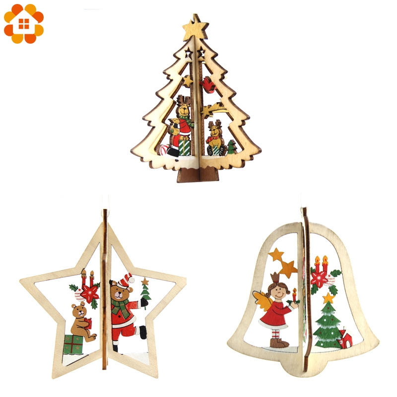 3sets diy 3d creative star bell tree christmas wooden for 3d star christmas decoration
