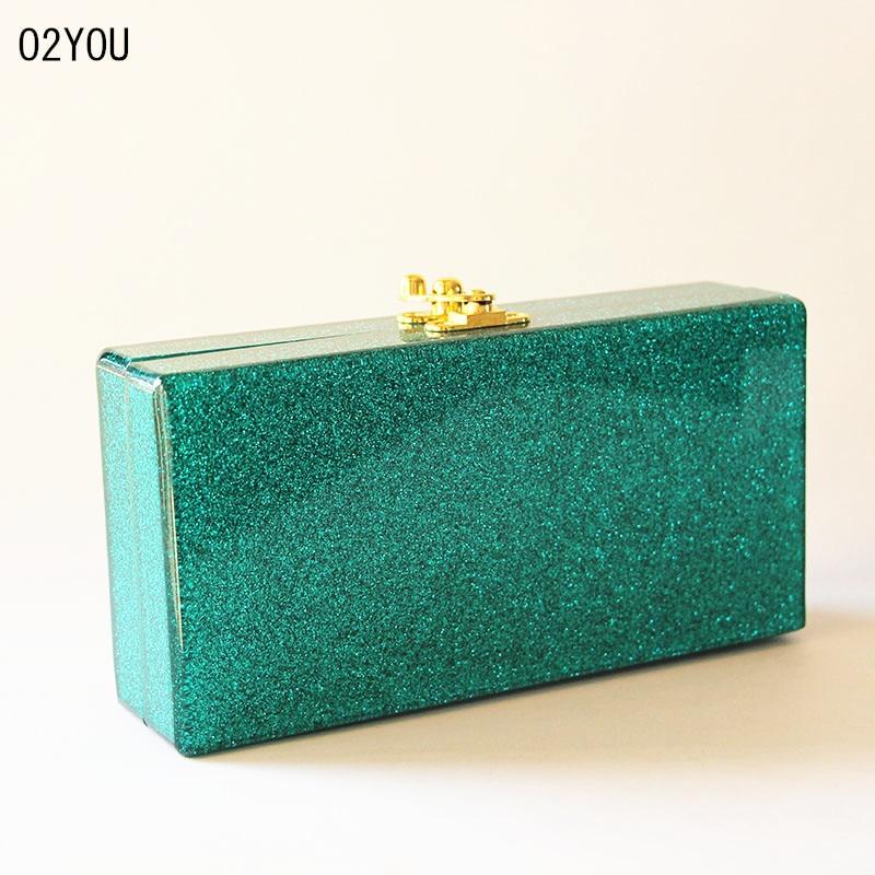 Πράσινο Glitter Ακρυλικό βράδυ Γυναικεία - Τσάντες - Φωτογραφία 2