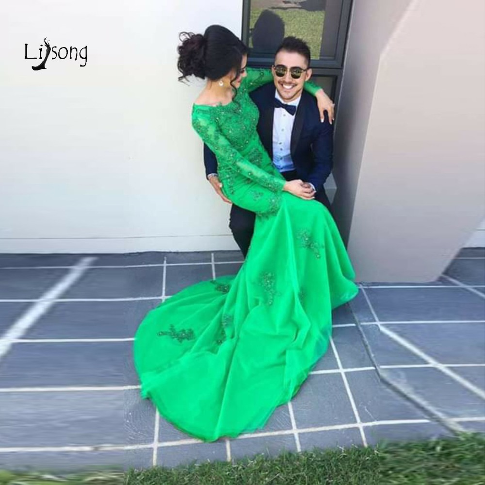 Sexy Green Lace Mermaid   Evening     Dresses   Full Sleeves 2019 Crystal Beaded Long Prom Gowns Fashion Formal   Dresses   Robe De Soiree