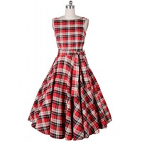 Vintage Dresses Women Plaid Check Print Spring Summer Casual A Line Empire Dress Sleeveless