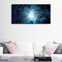 Blue Moon Night View in Forest Wall Decor Painting Landscape Nature Picture for Bathroom Kitchen Wall Art Artwork Canvas Print