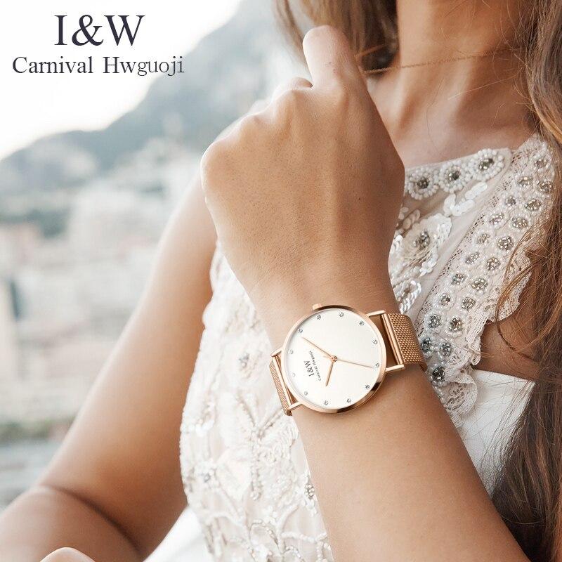 Карнавал ультра тонкие 6 мм миланские кварцевые женские часы TopBrand Роскошные сапфировые кристаллы минималистичный дизайн модные relogio feminino