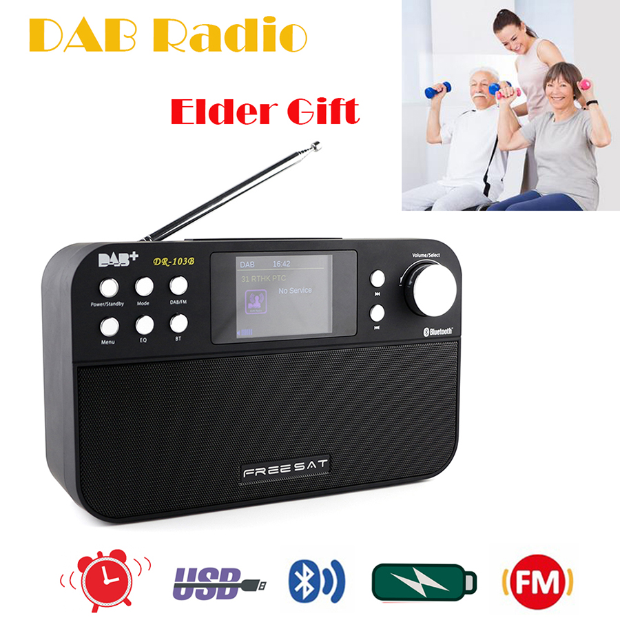 FM Radio DAB Digital Multi Functional Music Speaker Bluetooth4.0 Alarm FM Receiver Rechargeable Battery For Parents/Friend Gift digital vehicle dab radio car radio tuner with fm transmitter include antenna y4421a