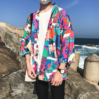 Japanese Kimono Jacket Men Printed Cardigan Summer Casual Men's Jackets Hip Hop Streetwear Color Block Male Coats Outerwear