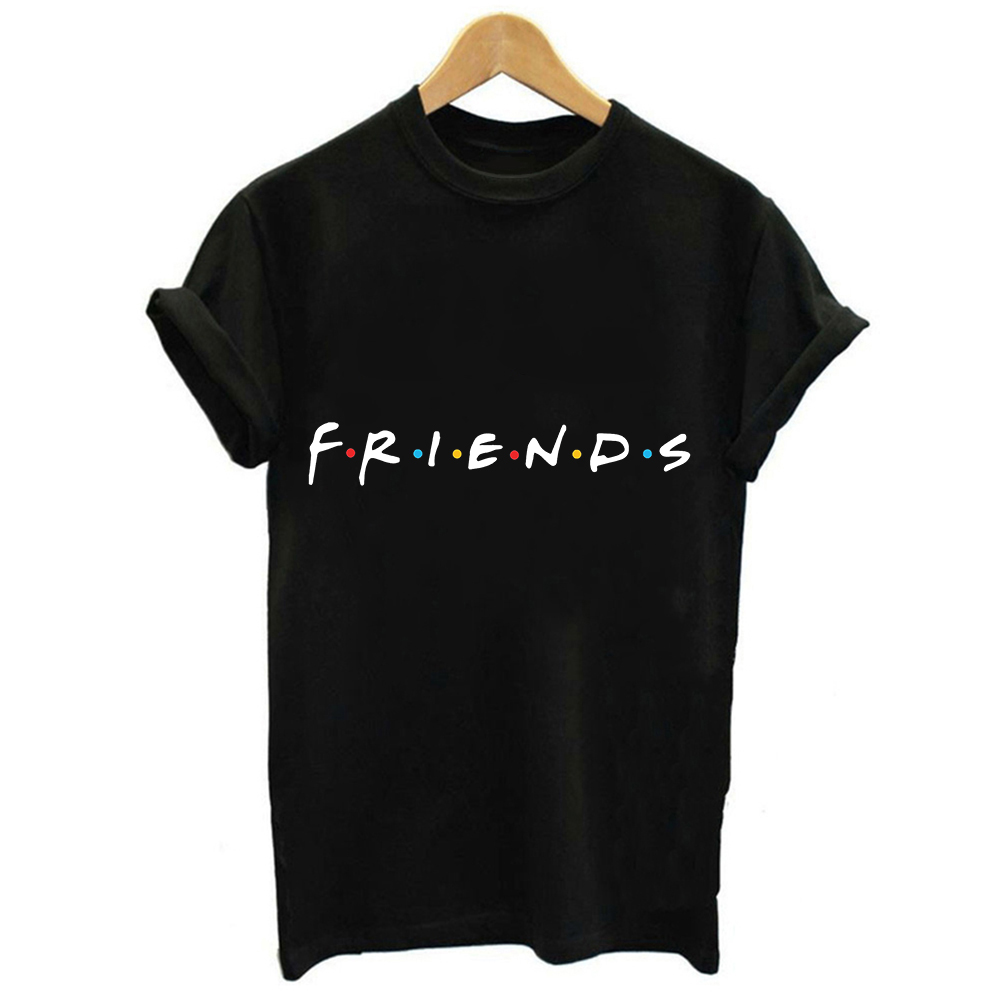 CDJLFH 2019 Korean Women Fashion Streetwear   Blouses   Friends Print Harajuku Black White Top   Shirt   Short Sleeve Blusa Mujer