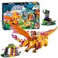 Bela 10503 duendes cueva de lava de bloques de construcción figuras de dragón de fuego 446 unids de hadas de ladrillos de construcción de juguetes para los niños