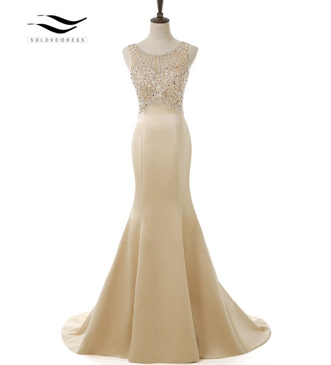 SOLOVEDRESS 2018 Elegant Scoop Sweep Train Satin Sparking Beading Mermaid Long Prom Dress Mermaid Formal Evening Gown SLD E5005