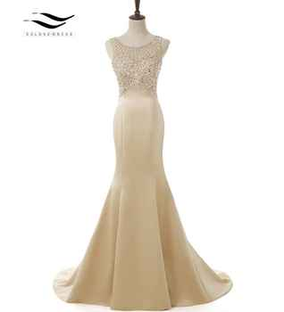 SOLOVEDRESS 2019 Elegant Scoop Matte Satin Real Photo Shiny Beads Mermaid Long Evening Dress U Back Formal Gold Gown SLD-E5005 - DISCOUNT ITEM  5% OFF Weddings & Events