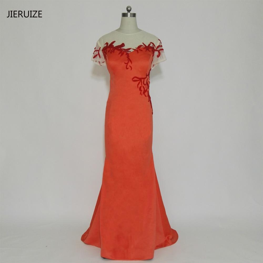 JIERUIZE oranžna satenasto rdeča perla iz srajčke dolge večerne - Obleke za posebne priložnosti