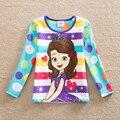 Розничная 2016 новый стиль комфортно прекрасная принцесса pattern хлопок девочка одежда с длинным рукавом футболки G671