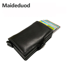 Maideduod Genuine Leather Automatic Credit Card Holder Men High Quality Aluminum Business Credit Card Multi-function Card Holder a3 multi function automatic business card cutter