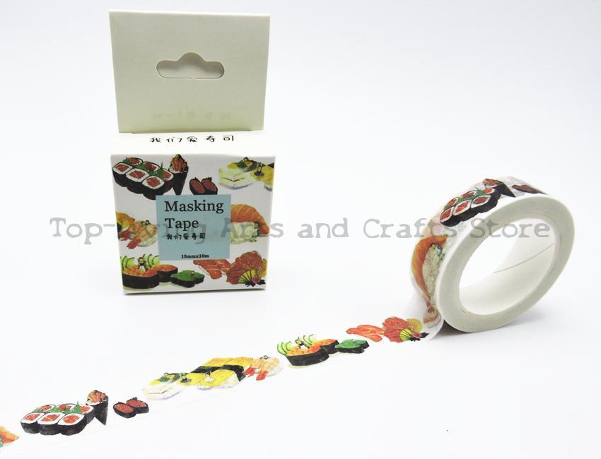 Sushi Printing Washi Tape 10M Length Kawaii Scrapbooking Tools Japanese Stationery  Quality Scrapbook